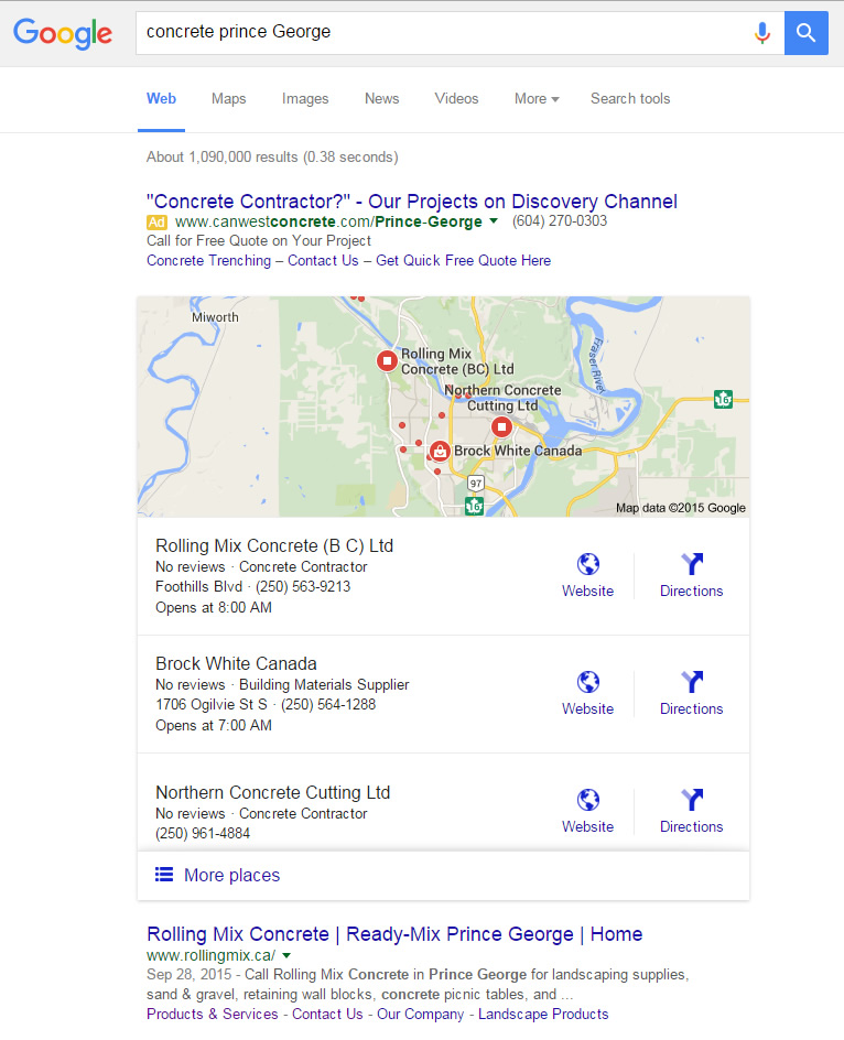 "Google search result for ""Concrete Prince George"" with ads map and organic results"
