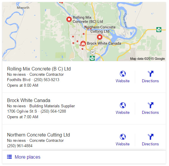 "Google Search Results Map for ""Concrete Prince George"""