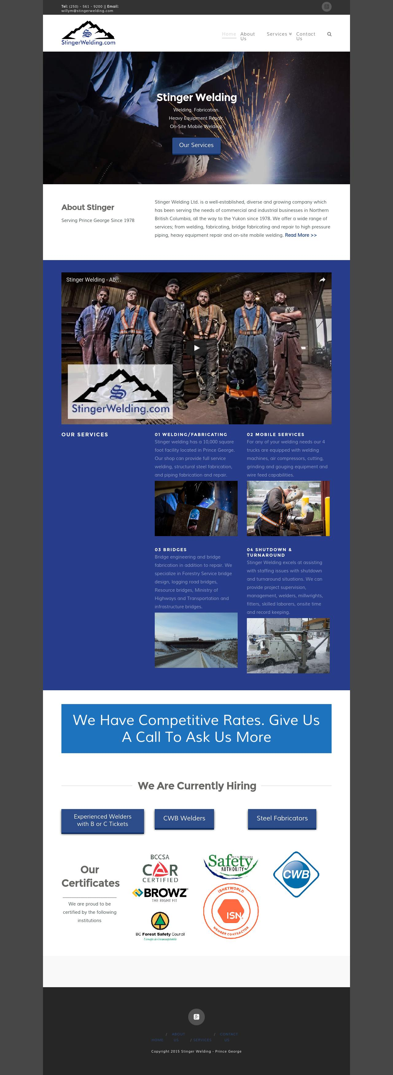 Stinger Welding Home page screenshot