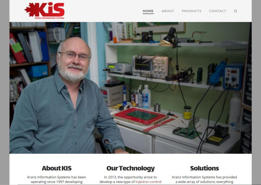Website screenshot for Kranz Information Systems - Creator of custom injection control systems