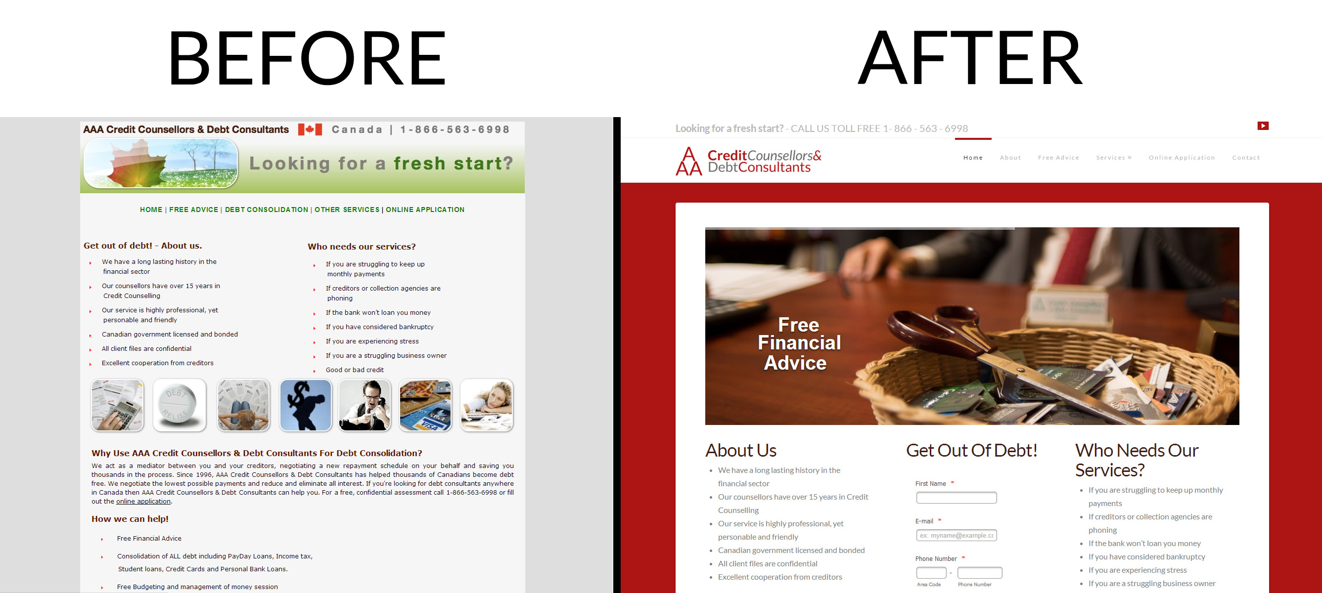Before and After screen shots of AAA Credit Counselling Website